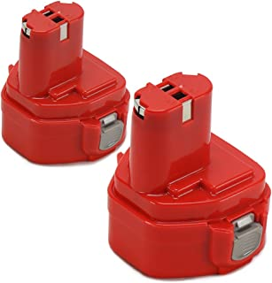 POWERAXIS 2 Packs 12V 3.0Ah Ni-MH Extended Battery Replacement for Makita 1233/1234/1235/1235B/1235F/192696-2/192698-8/192698-A/193138-9/193157-5 Cordless Power Tool(Red)