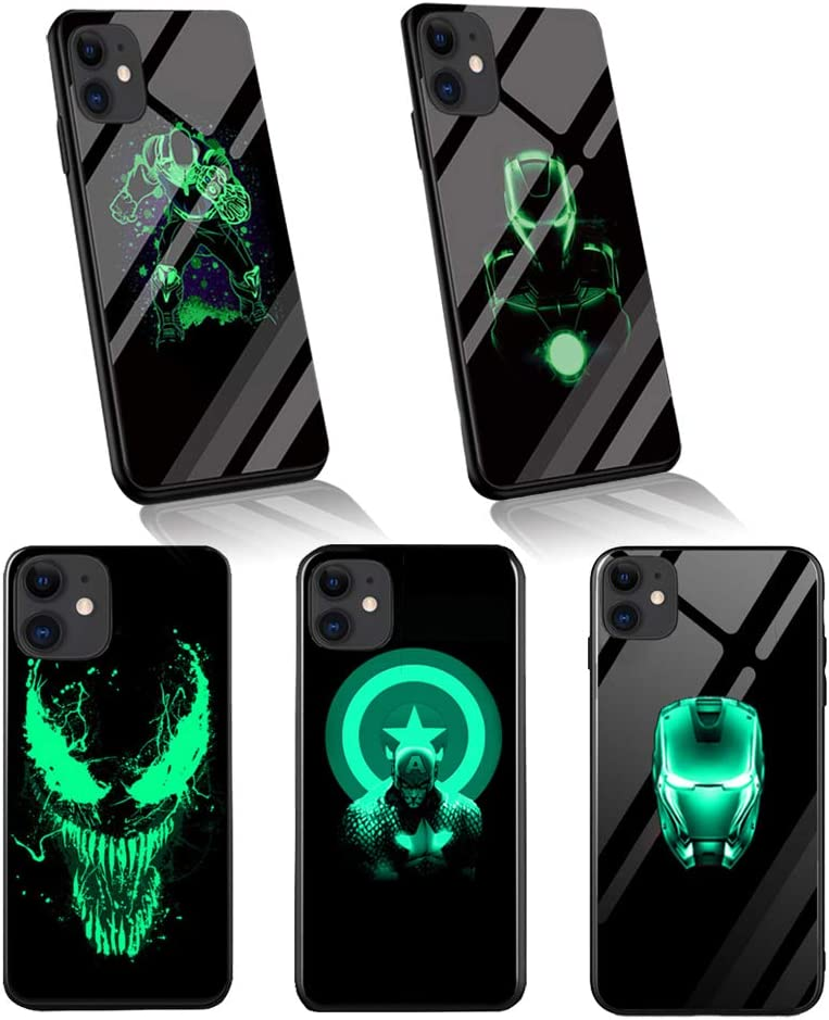 Hero Luminous Case for iPhone 11, Glowing Tempered Glass Back Cover Soft Slim TPU Bumper Shockproof Case (Captain, iPhone 11)