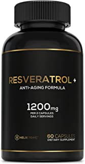 Resveratrol Supplement with Trans Resveratrol HELIX PRIME 1200mg Per Serving in 60 Capsules Vegetarian Antioxidant Promote...