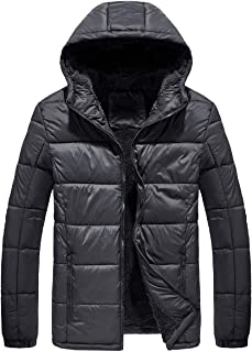 GKSJJ Mens Winter Hooded Warm Puffer Jackets with Fleece Lined Coat Outwear Jacket