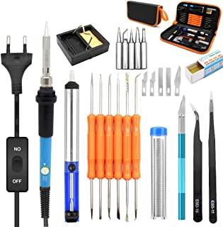 Cover Full Set 21-in-1 Soldering Iron Kit Electronics, 60W 110V Adjustable Temperature Welding Iron Electric Soldering Tools-Best for Small Electric Work and Welding, 5PCS Soldering Tips, Desoldering
