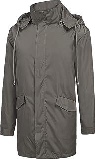 ZEGOLO Men's Raincoats Waterproof Windbreaker Lightweight Active Outdoor Full Zip Hooded Long Rain Jacket Trench Coats