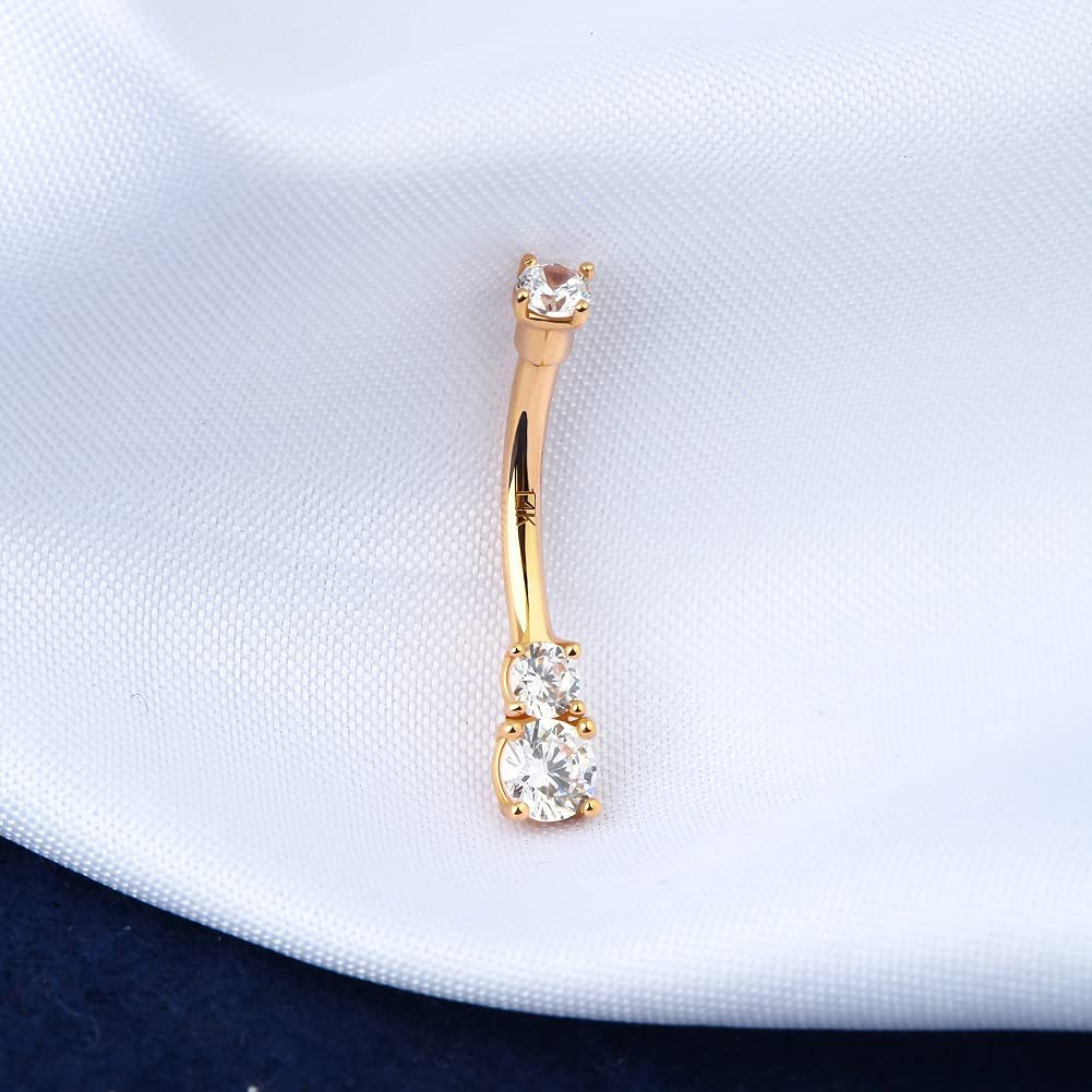 OUFER 14K Solid Gold Belly Navel Button Ring Clear 5A Cubic Zirconia Design Belly Rings Piercing Jewelry