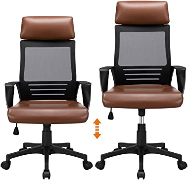 Executive Office Mesh Chair Ergonomic Gaming Computer Chair High Back Chair with Lumbar Support (Brown)
