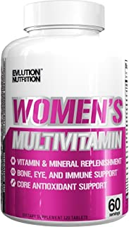 Evlution Nutrition Women's Daily Multivitamin Supplement, Biotin, Vitamins A B C D E, Calcium, Zinc, Lutein, Magnesium, Manganese and More, Essential Multi Vitamin for Women (60 Servings)