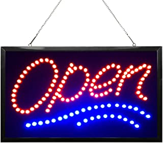 WAENLIR 22x13 inch Bright Vertical LED Open Sign for Business. High Visibility Electric Lighted Signs- Flashing&Steady Light up Sign for Stores, Bars,resturatant, Window,Walls.