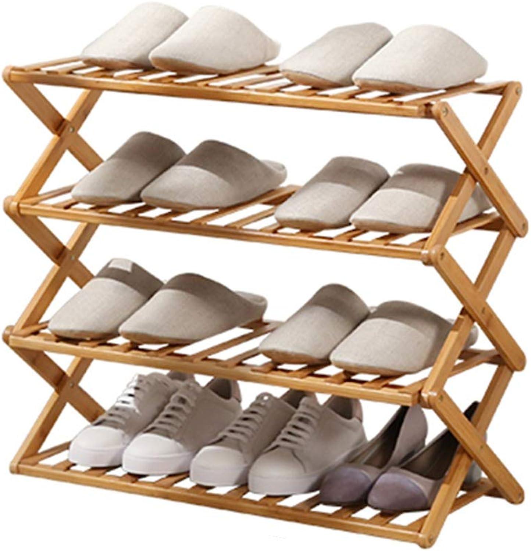Axdwfd shoes Rack Solid Wood 70  68cm (Length, Height) Foldable 4 Layers Waterproof Dustproof Portable