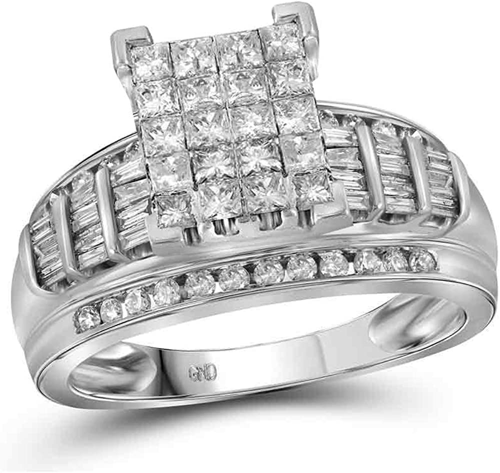 Dazzlingrock Collection 10kt White Gold Princess Womens Large-scale sale Industry No. 1 Diamond