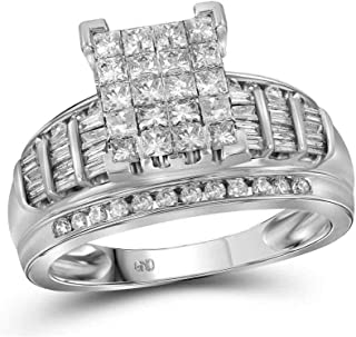 FB Jewels 14K White Gold Womens Princess Diamond Cluster Bridal Wedding Engagement Ring 2.00 Cttw Size 7 (Primary Stone: I...