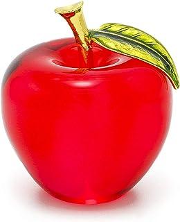 H&D kryształowy Apple przycisk do papieru sztuka szkło jabłko kolekcjonerskie figurki dekoracja domu (czerwona)