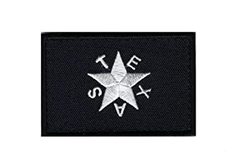 Black Texas Star Flag Revolution Lone Star TX Tactical Hook Patch by Miltacusa