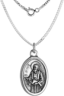 Sterling Silver St Jude Medal Necklace Oval 1.8mm Chain