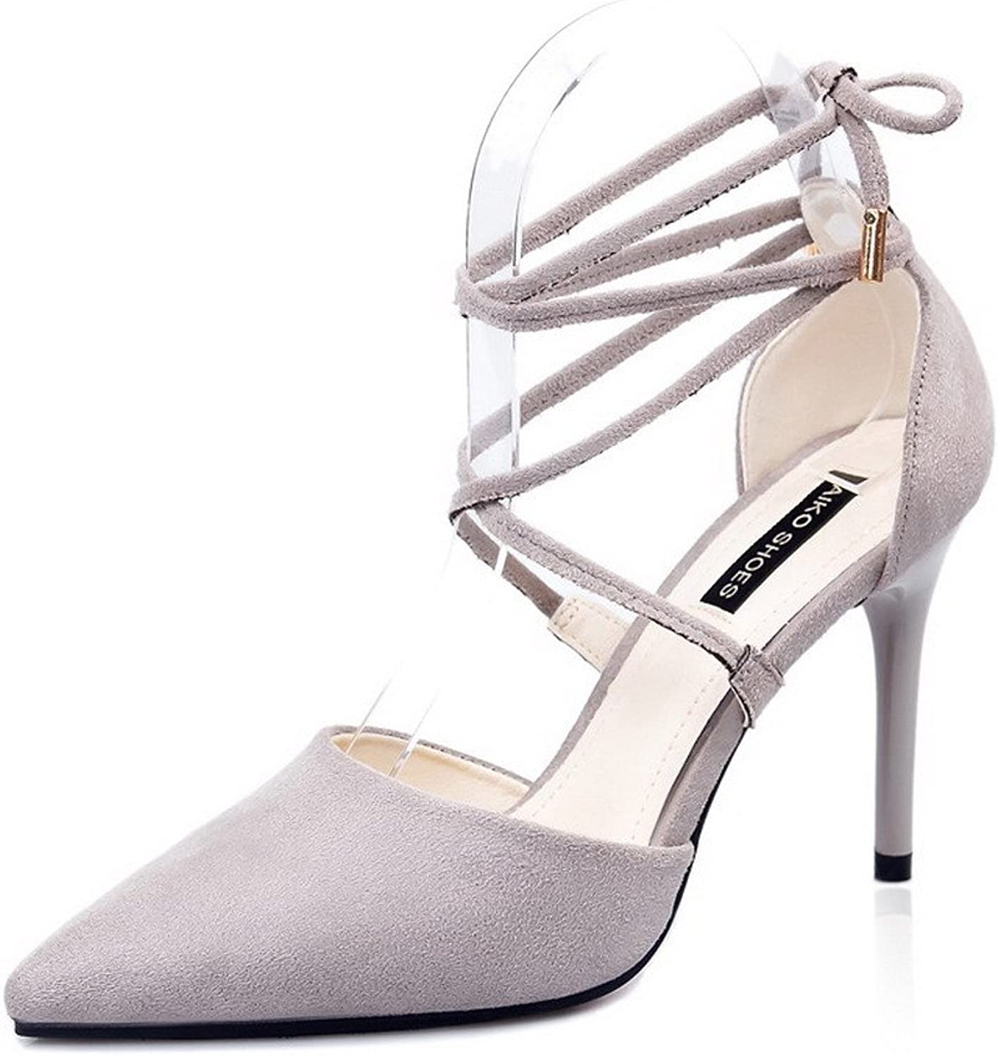 AmoonyFashion Women's Lace-up High-Heels Imitated Suede Solid Pointed-Toe Sandals