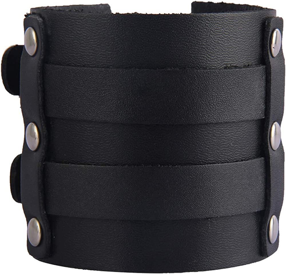 AZORA Punk Leather Bracelet Handmade Wide Cuff Bangle Wristband Adjustable Bracelets for Men,Teens,Boys,Women (Cuff Bracelet Mens - Black)