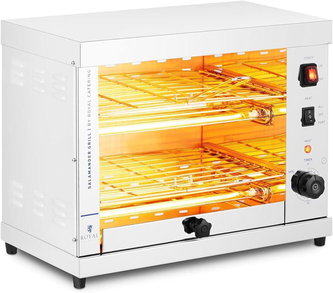 Royal Catering Horno Salamandra para Hostelería Tostador RC-SGI01 (Potencia: 3200 W, Temperatura: 65 - 300 °C, Acero inoxidable)
