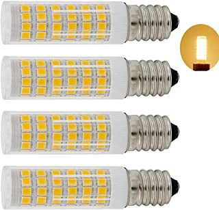 XYTGD LED T4 JDE11 Mini Candelabra Light Bulb 7W Dimmable 60W to 75W 100W Halogen Replacement (4 Pack) JDE11 120V for Chandeliers, Sconce, Cabinet Lighting, Soft Warm White 3000K