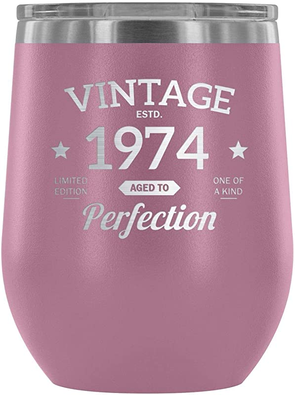 1974 44th Birthday Gift Vintage Year For Women And Men 12 Oz Wine Tumbler Cup Vintage Aged To Perfection Wedding Anniversary Gift Idea For Him Her Parents