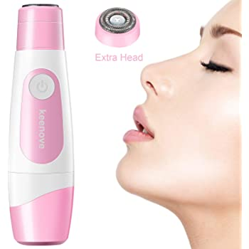 Facial Hair Removal For Women with Powerful Pro. 180 Motor with Additional Replacement Head Keenove Painless Gentle Electric Hair Remover Shaver for Women Face Lips Cheeks Chin Portable Generation II