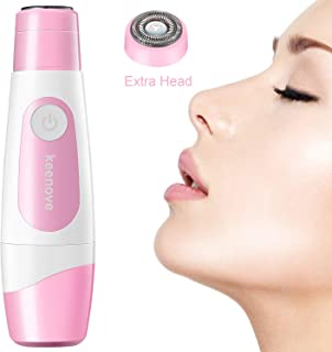 Keenove Painless Facial Hair Removal For Women with 1 Additional Replacement Head Gentle Electric Face Hair Remover Shaver for Women Lips Cheeks Chin Portable