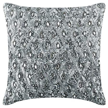 Light Pro Hand Beaded Decorative Pillow Cover 12 X12 Silver Handwoven Pillow Handmade By Skilled Artisans A Beautiful And Elegant Accessory To Dress Up Your Couch Sofa And Bed