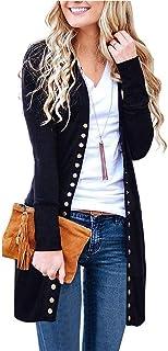 LIEBE721 Mujer Invierno Cardigan Jersey de Punto Suelto Color Sólido Chaqueta Botón Suéter para Otoño Invierno Pullover Ca...