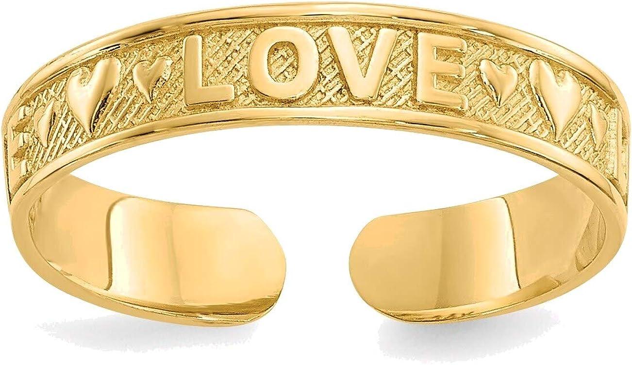 Bonyak Jewelry Love Toe Ring in 14K Yellow Gold in Size 11