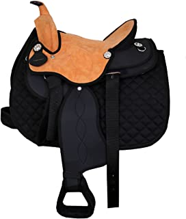 Manaal Enterprises Synthetic Suede Australian Stock Saddle Tack with Horn & Saddle Pad Size- 14