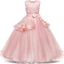 Jurebecia Girls Floor Length Princess Dresses Kids Sleeveless Wedding Party Prom Ball Gowns Dress 5-14 Years
