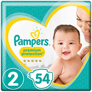 Pampers Premium Protection, Size 2 Newborn (4kg to 8kg), 54 Nappies, For unbeatable skin protection