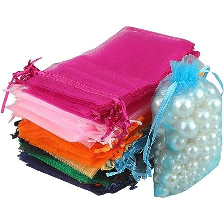 100Sacs Organza,Sachets Pochettes Cadeau en Organza Sac à bijoux,sachets pour lavande Idéales pour Bijoux Cadeaux Bonbons Marriage-10x15cm