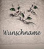 md-design Duschtuch mit Katzen Motiv und Wunschname Bestickt, 70x140cm, 500 gr/qm - schwere Qualität, 100% Baumwolle, Uni-Walkfrottier Farbe weiß