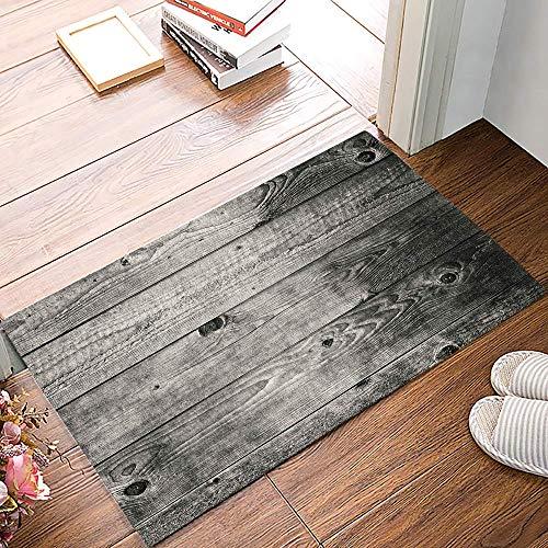 Felpudo interior Alfombrilla para puerta delantera, tablero de madera pintoresco Alfombrilla de bienvenida Alfombrilla para puerta de entrada Alfombrilla antideslizante, perfil suave y bajo