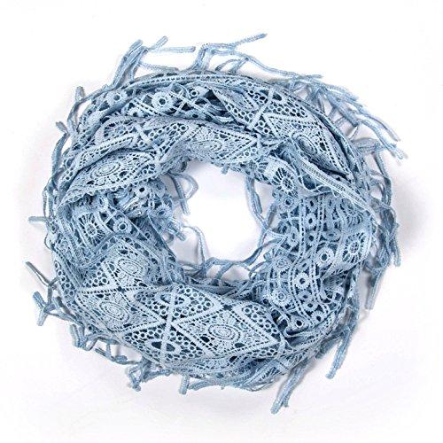 MANUMAR Spitzen Loop für Damen | eleganter Spitzen Schal in blau | Hochzeit | Kleid | Frühlings/Herbst Accessoire | Spitzenmuster | Geschenkidee für Frauen und Mädchen