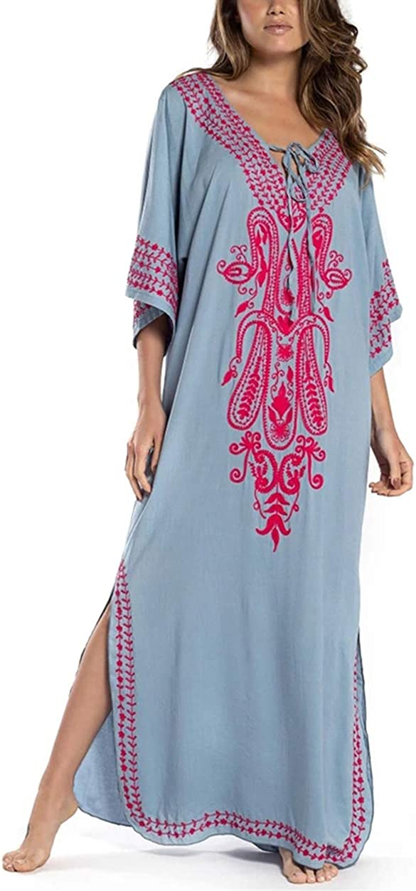 Bathing Suit Cover Ups for Women Half Sleeve Neckline with Embroidered Swimwear Turkish Kaftans Side Split Lacing Up Beachwear Grey Beach Dress