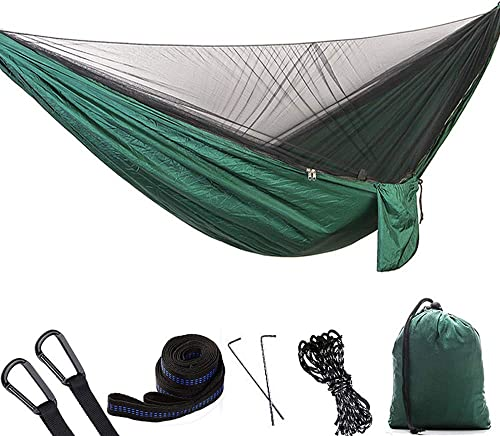 Camping hamac avec moustiquaire, hamacs à parachute portables ultra-légers à une personne et à personne double pour jardin intérieur extérieur, randonnée