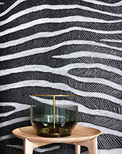 NEWROOM Tapete schwarz Zebra Fell Grafisch Papiertapete weiß Papier moderne Design Optik Tapete Naturtapete Modern inkl. Tapezier Ratgeber