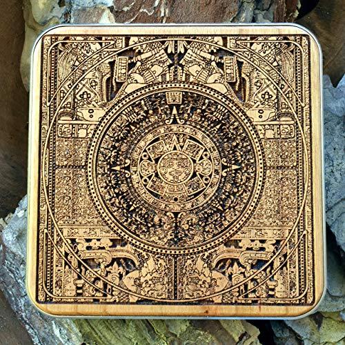 Aztec Calendar Drahtloses Ladegerät Holz Schnelle Ladung Kompatibel mit Samsung, iPhone, hölzernes Qi-WiFi-Ladekissen