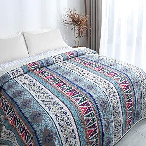 ENCOFT Tagesdecke Bettüberwurf Steppdecke Patchwork Bettdecke Einzelbett Polyester (150 x 200 cm, Grün)