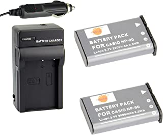 DSTE Replacement for 2X NP-90 Battery + DC94 Travel and Car Charger Adapter Compatible Casio Exilim EX-H10 EX-H15 EX-H20 EX-FH100 Camera