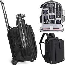 کیف مخصوص کیف دستی چرخ دستی Cwatcun با دارنده سه پایه کیف ضد آب ضد سرقت با محفظه لپ تاپ 15.6 اینچی برای دوربین Canon Nikon Sony DSLR SLR برای زنان عکاس مرد