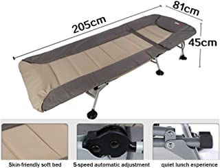 Loungers Folding Bed Single Bed Office Siesta Bed Simple Cloth Bed Camping Bed accompanying Bed (Color : Beige, Size : 205 * 81 * 45 cm)