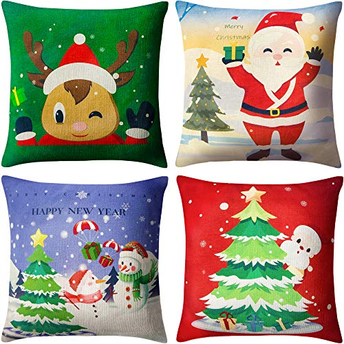 BININBOX Christmas Pillow Covers Set of 4 Holiday Throw Pillow Covers 18x18 Inches Linen Christmas Tree Snowman Reindeer Santa Decorative Christmas Pillowcase
