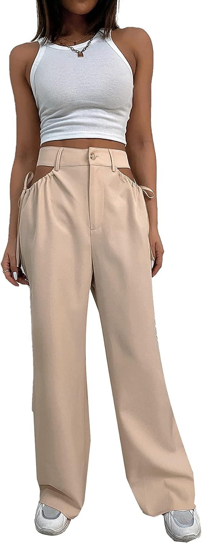 SheIn Women's High Waist Cut Out Trousers Wide Leg Zipper Fly Loose Pants