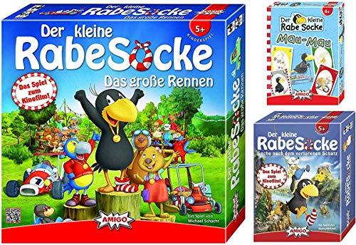 Amigo - Der kleine Rabe Socke Spielepaket: Das große Rennen, Suche nach dem verlorenen Schatz & Mau Mau