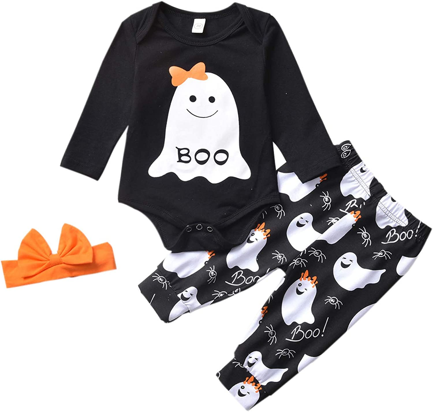Newborn Baby Boy My First Halloween Outfit Skull Romper Top Ghost Pants with Hat 3Pcs Clothes Set 0-24M