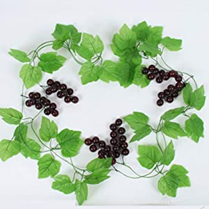 Lelestar 41Ft Artificial Greenery Chain Grape Ivy Leaves + Artificial Grapes Vine Foliage Simulation Flowers Plants for Home Room Garden Wedding Garland Outside Decoration,Pack of 5