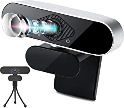1080P Webcam with Microphone and Tripod, Plug & Play HD USB Computer Camera for PC Desktop Laptop, 110-degree Wide Angle, for Windows Mac OS, for Video Streaming, Conference,Recording, Gaming, Classes