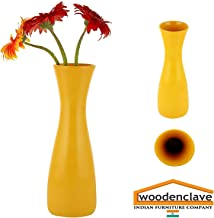 Woodenclave Yellow Ceramic Flower Vase Pot Sleek Flower Vase Pot for Home and Office