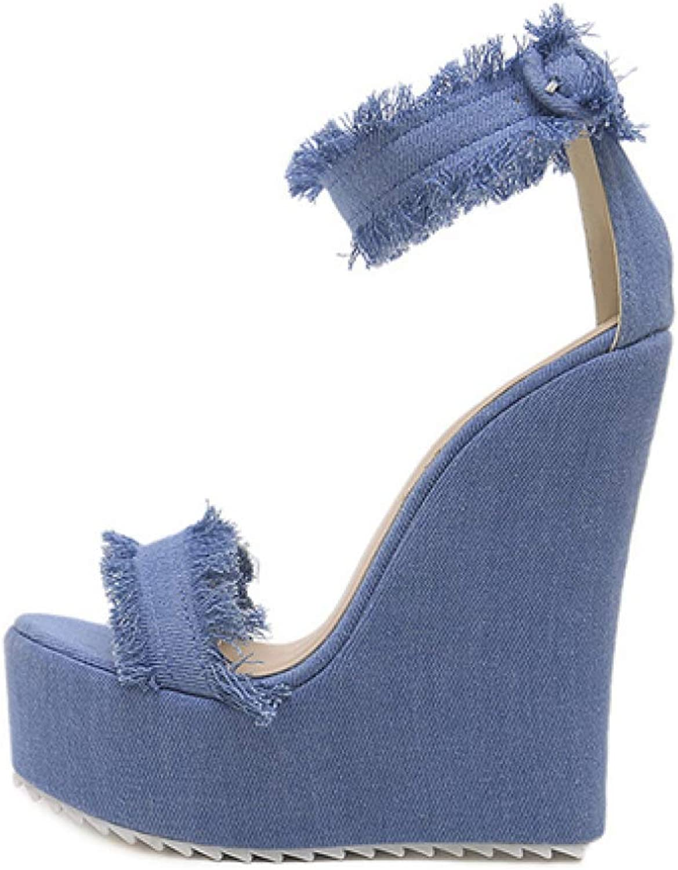 Hoxekle Mode sommar sommar sommar blå Denis Sandals hög klack Platform Wedges Sexy Zip Kvinna Party Sandals  till salu 70% rabatt