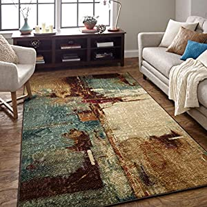 Mohawk Home Strata Aqua Fusion Abstract Area Rug, 5'x8′, Blue/Brown